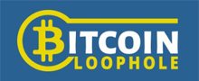 robot bitcoin loophole yellow white blue logo