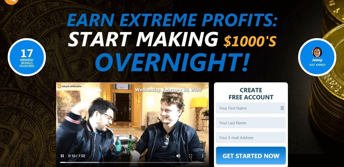 BTC Millionaire Pro overzicht van de homepage