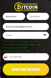 formularz rejestracji bitcoin loophole