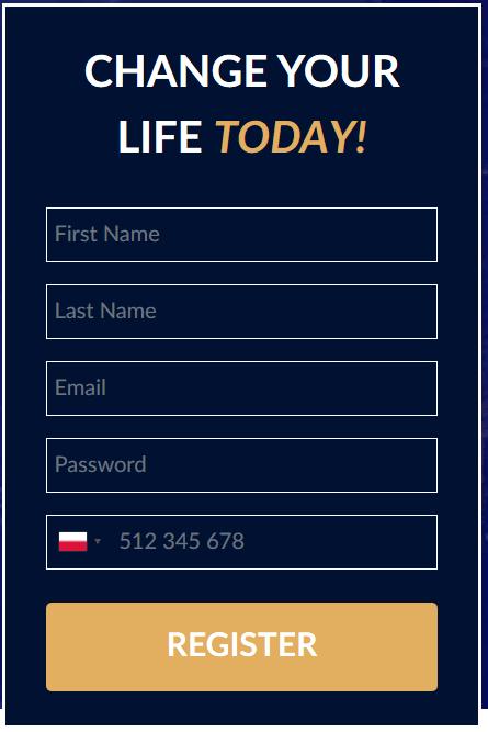 Formularz rejestracji Bitcoin Up